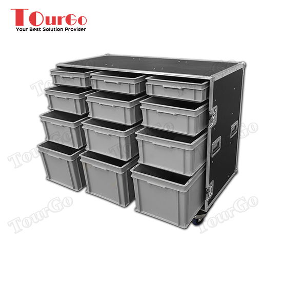 TourGo Custom Large Production Flight Case With 12 Trays