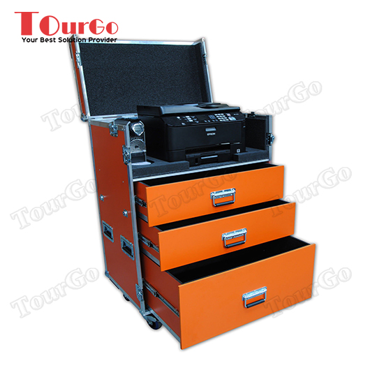 TourGo Custom Production Flight Case With Printer, Router and Nespresso Machine Storage