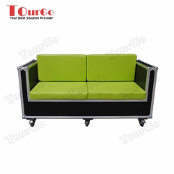 TourGo 3 Seater Wood and Green Leather Sofa