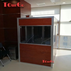 Customize One Person Interpreter Translation Booth With Wooden Color
