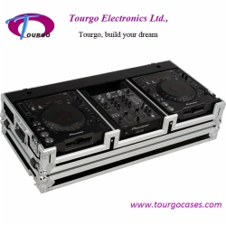 CD Coffin Cases - Case for 2pcs Large Format CD Players: Pioneer CDJ-1000, CDJ-800, DN-S3700, DN-S3500 plus 10inch mixer with low profile wheels