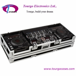 CD Coffin Cases - Case for 2pcs Large Format CD PLlayers: Pioneer CDJ-1000, CDJ-800, Denon DN-S3500, DN-S3700, plus 19inch Mixer with low profile wheels: Holds 19inch mixer up to 8U rack space