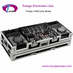 CD Coffin Cases - Case for 2pcs Small Format CD Players: Pioneer CDJ-200, CDJ-400, Denon DN-S1000, DN-S1200, Numark players plus 19inch MIXER with low profile wheels: Holds mixers up to 8U rack space