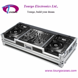 CD Coffin Cases - for 2pcs Large Format CD Players: Pioneer CDJ-2000 + DJM-2000 Mixer with low profile wheels
