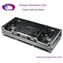 CD Coffin Cases - Case for 2pcs Large CD Players: Pioneer CDJ-2000 plus 19inch MIXER up to 8U rack space with low profile wheels