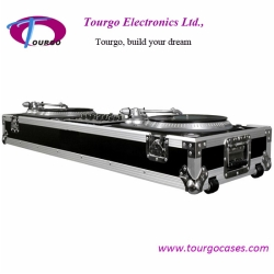 Turntables Coffin - 2pcs Turntables  /19inch Mixer DJ Coffin With Wheels